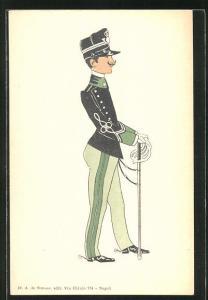 AK Karikatur eines italienischen Soldaten