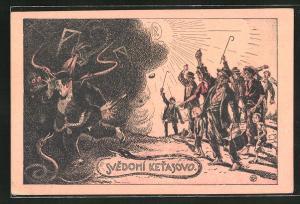 Künstler-AK Svedomí Ketasovo, wütender Mob jagt reichen Mann