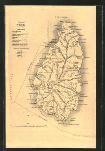 AK St. Lucia, Inselpanorama auf einer Landkarte
