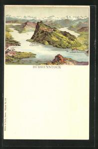 Lithographie Bürgenstock, Panorama mit See und Alpen