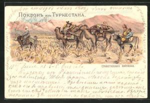 Lithographie Kirgisistan, Männer ziehen mit Kamelen durch die Steppe