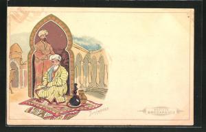 AK Türkmenistan, Türkmenen auf Teppich mit Wasserpfeife