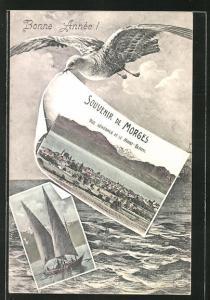 Passepartout-AK Morges, Vue Générale et le Mont-Blanc, Segelschiff auf hoher See