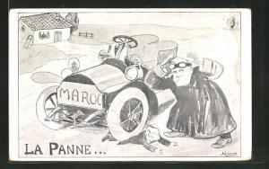 Künstler-AK La Panne, Marokkokrise, Karikatur von Präsident Loubet