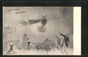 AK Arrosage Défendu, französische Karikatur