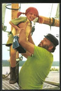 AK Pippi Langkous, Pippi Langstrumpf mit ihrem Vater, Astrid Lindgren