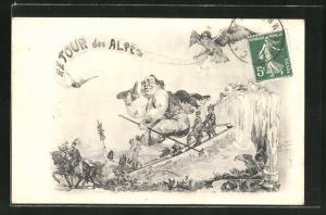 AK Retour des Alpes, König Kareval