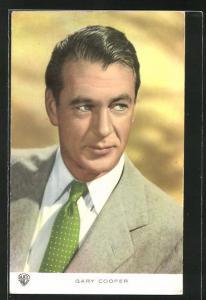 AK Schauspieler Gary Cooper im Anzug mit Krawatte