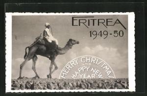 AK Eritrea, Afrikaner reitet auf einem Kamel, Weihnachtsgrüsse