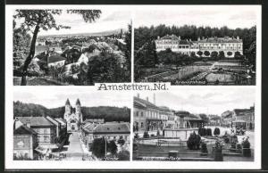 AK Amstetten, Blick auf Krankenhaus, -Platz und Herz Jesu Kirche