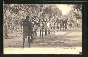 AK Congo, Caravane d`Ivoire, Träger mit Stosszähnen,