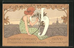 AK Milano, III. Grande Concorso Internazionale e Nazionale di Musica 1906, Frau mit Harfe, Jugendstil