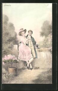 AK Paar mit Hüten im Park im Biedermeier