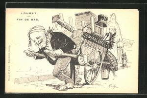 Künstler-AK Karikatur von Loubet, zieht einen Holzwagen hinter sich her