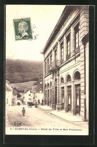 AK Clerval, Hotel de Ville et Rue Principale