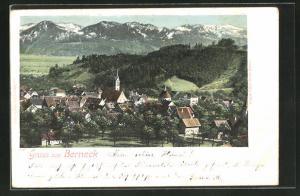 AK Berneck, Ortsansicht gegen die Berge