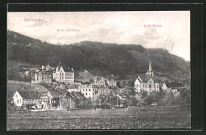 AK Rebstein, Teilansicht mit Kath. Kirche und Schulhaus