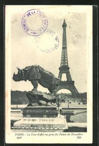 AK Paris, La Tour Eiffel, Blick vom Trocadero Garten zum Eiffelturm