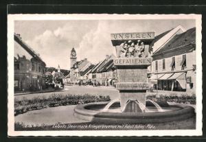 AK Leibnitz, Kriegerbrunnen am -Platz