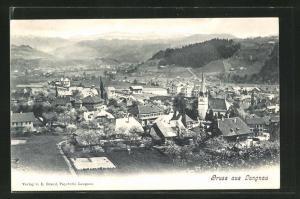 AK Langnau, Ortsansicht mit Bergen