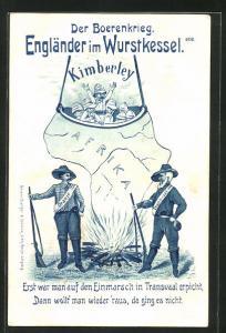 Künstler-AK Burenkrieg, Engländer im Wurstkessel, Erst war man auf den Einmarsch in Transvaal erpicht...