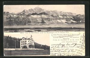 AK Mauborget, Vue du Mont-Blanc, Hotel-Pension Bellevue