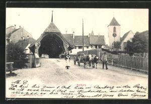 AK Aarberg, Teilansicht mit Brücke, Kuhgespann mit Bauern, Kirchturm