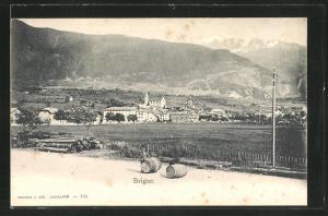 AK Brigue, Teilansicht mit Bergen und Kind mit Fässern