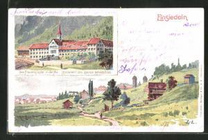 AK Einsiedeln, Teilansicht, Das Frauenkloster in der Au