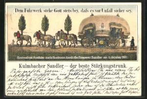 AK Brauerei-Werbung für Kulmbacher Sandlerbräu, Brauerei-Fuhrwerk