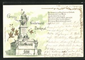 Lithographie National-Denkmal a. d. Niederwald mit Germania