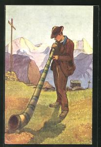 Künstler-AK Joueur de cor des alpes (Val d`Hérens, Valais)