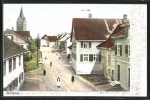 AK Müllheim, Strassenpartie mit Gebäudeansicht