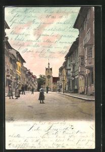 AK Diessenhofen, Ortsansicht mit Kirche und Häuserzeile
