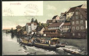 AK Diessenhofen, Häuserpartie am Fluss