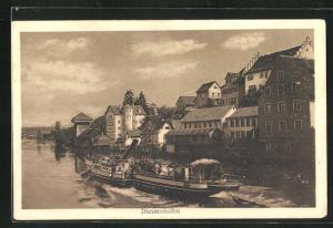 AK Diessenhofen, Dampfer Schweiz und Häuser am Ufer