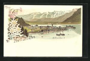 Lithographie Zell, See mit Alpen und Dampfschiff