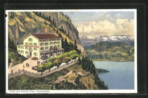 Künstler-AK Unterstetten, Panorama mit Hotel und Pension Rigi