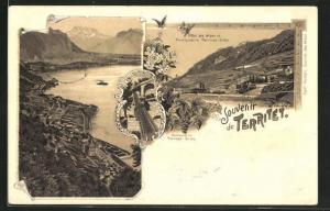 Lithographie Territet, Gesamtansicht, Hotel des Alpes et Funiculaire Territet-Glion, Funiculaire Territet-Glion