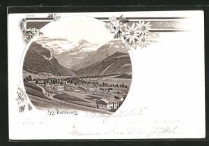 Lithographie Les Diablerets, Ortsansicht mit Alpen, Edelweiss