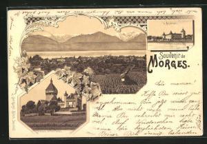 Lithographie Morges, Totalansicht mit Alpen, l`Arsenal, Chateau de Vufflens