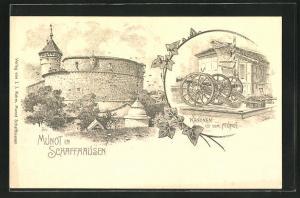 AK Schaffhausen, Festung Munot und Kanonen auf dem Munot