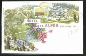 Lithographie Rigi Klösterli, Hotel des Alpes, Panorama