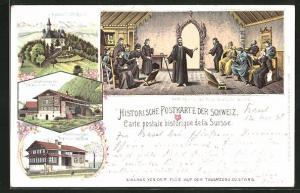 Lithographie Stans, Niklaus von der Flüe auf der Tagsatzung, Kapelle Flühli-Ranft, Geburtshaus des Niklaus v. d. Flüe