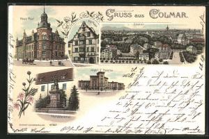 Lithographie Colmar, Pfeffeldenkmal, Jägerkaserne, Neue Post und Kopfhaus