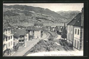 AK Sachseln, Dorfplatz mit Sarnersee u. Pilatus