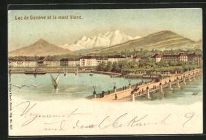Lithographie Genève, Lac de Genève et le mont Blanc