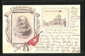 AK Bern, Parlamentsgebäude, Humbert I. König von Italien