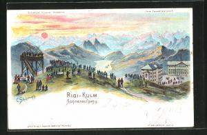 Künstler-AK C. Steinmann: Rigi-Kulm, Ortspartie bei Sonnenaufgang