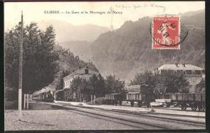 AK Cluses, La Gare et la Montagne de Nancy, Bahnhof